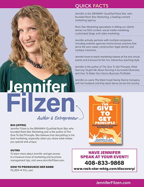 Jennifer Filzen quick facts sheet